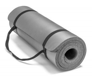 Silver Extra Thick Yoga Mat Rolled Up